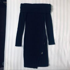 Off the shoulder zip dress